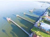 Kemah-Fischenpiers von der Luft Stockfotografie