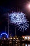 Kemah plaży fajerwerki Zdjęcie Royalty Free