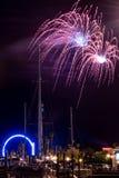 Kemah plaży fajerwerki Fotografia Royalty Free