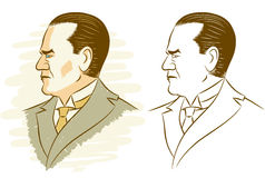 Kemal Ataturk. Portrait of Kemal Ataturk in 2 versions stock illustration
