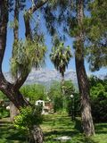 Kemer city park with a view of the mountains Stock Photography