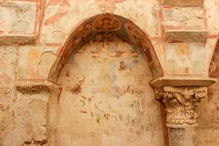 Kemer, Innenraum und Freskos von St. Nicholas Church stockfotos