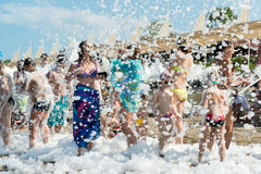 Kemer, Turkey-August 21, 2014. Foam Party on Royalty Free Stock Photo