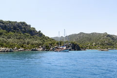Kemer, Turkey - 06.20.2015. Boat with tourists near  coast of Turkey Stock Photography