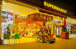 The tourist supermarket in Kemer, Turkey. KEMER, TURKEY - MAY 13, 2017: The tourist supermarket in shopping area of Ataturk Boulevard with wide range of Royalty Free Stock Photo