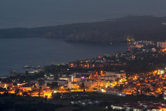 Kemer, Turkey Night view on top of resort village Camyuva. Royalty Free Stock Images