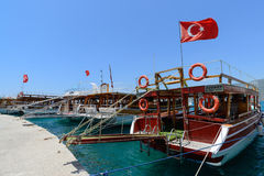 Kemer, Turkey - 06.20.2015. Pleasure boats for Stock Photography