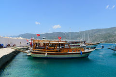 Kemer, Turkey - 06.20.2015. Pleasure boats for Royalty Free Stock Photos
