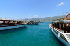 Kemer, Turkey - 06.20.2015. Pleasure boats for Royalty Free Stock Photography
