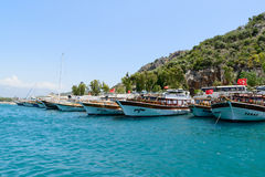 Kemer, Turkey - 06.20.2015. Pleasure boats for Royalty Free Stock Image