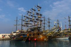 KEMER, TURKEY - 11,08,2017 Tourist pirate ships in the port of K. Emer Royalty Free Stock Photo