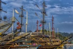 KEMER, TURKEY - 11,08,2017 Tourist pirate ships in the port of K. Emer Stock Photography