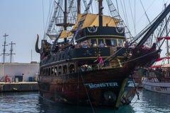 KEMER, TURKEY - 11,08,2017 Tourist pirate ships in the port of K. Emer Stock Photo