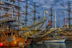 KEMER, TURKEY - 11,08,2017 Tourist pirate ships in the port of K Stock Photography