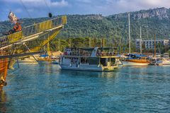 KEMER, TURKEY - 11,08,2017 Tourist pirate ships in the port of K Royalty Free Stock Image
