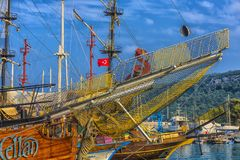KEMER, TURKEY - 11,08,2017 Tourist pirate ships in the port of K Stock Images