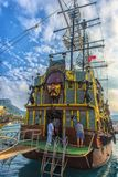 KEMER, TURKEY - 11,08,2017 Tourist pirate ships in the port of K. Emer Stock Image