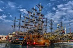 KEMER, TURKEY - 11,08,2017 Tourist pirate ships in the port of K Stock Image