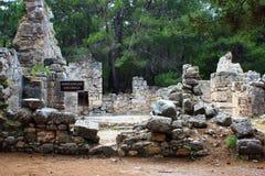Kemer, Turquie, mai 2017 Ruines de la ville antique de Phaselis Photographie stock