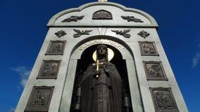 kemerovo Patronka górnicy Mężczyzna stojaki na tle antyczny miasto Jerozolima Zdjęcie Stock