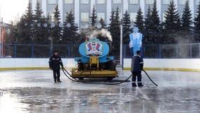 Kemerovo-Stadt Eisbahn des Eises Lizenzfreies Stockfoto