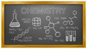 Kemi vetenskap, kemiska beståndsdelar, svart tavla Arkivbild
