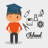 Kemikalie för laboratorium för utrustning för skolapojke stock illustrationer