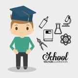 Kemikalie för laboratorium för utrustning för skolapojke royaltyfri illustrationer