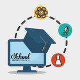Kemikalie för skoladatoravläggande av examen stock illustrationer