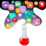 Kemikalie i flaska och andra vetenskapssymboler stock illustrationer