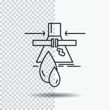 Kemikalie läcka, upptäckt, fabrik, föroreninglinje symbol på genomskinlig bakgrund Svart symbolsvektorillustration stock illustrationer
