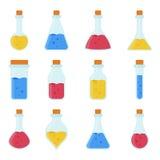 Kemikalie, laboratoriumutrustning för biologisk vetenskap - provrör och flaskasymboler vektor illustrationer