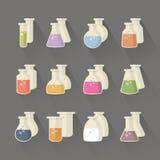 Kemikalie och vetenskapsflaska royaltyfri illustrationer