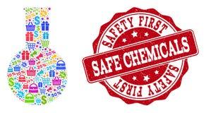Kemikaliesammansättning av mosaiken och Grungestämpeln för försäljningar stock illustrationer