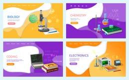 Kemikurser och biologiforskningstudier stock illustrationer