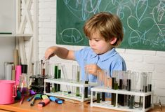 Kemilaboratorium ( r Smarta barn som utför kemi royaltyfri bild