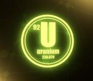 Kemisk beståndsdel för uran arkivbild