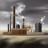 Kemisk fabriksrök royaltyfri illustrationer