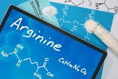Kemisk formel av Arginine Arkivfoton