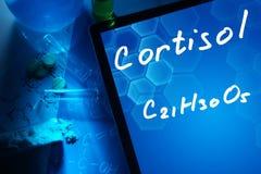 Kemisk formel av cortisol royaltyfri foto