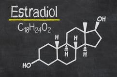 Kemisk formel av estradiolen Arkivbilder