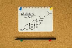 Kemisk formel av kolesterol Arkivbild