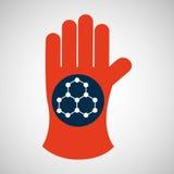 Kemisk handske med molekylstruktursymbolen stock illustrationer