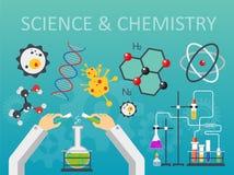 Kemisk illustration för vektor för design för stil för laboratoriumvetenskap och tekniklägenhet Begrepp för forskarehandarbetspla