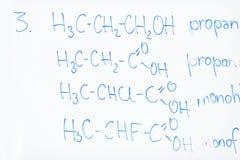 Kemisk molekylstruktur på den vita galten Arkivfoto