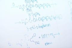 Kemisk molekylstruktur på den vita galten Arkivfoton