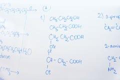 Kemisk molekylstruktur på den vita galten Arkivbilder