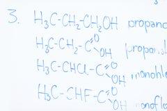 Kemisk molekylstruktur på den vita galten Arkivbild