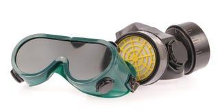 Kemisk skyddande maskering och säkerhetsexponeringsglas Royaltyfria Bilder