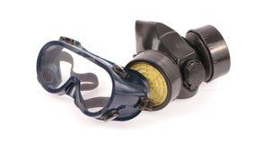 Kemisk skyddande maskering och säkerhetsexponeringsglas Royaltyfri Fotografi